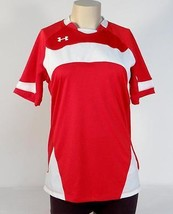 Under Armour Moisture Wicking Red & White Short Sleeve Soccer Jersey... - $48.74