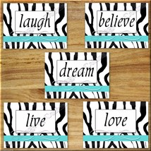 Zebra Turquoise Wall Quote Art Prints Picture Inspiration Live Laugh Lov... - $16.29