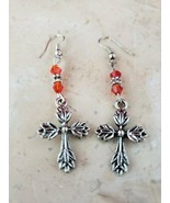 NEW Handmade Cross Earrings with Red Accents - $9.99