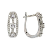 ESTATE DIAMOND HOOP / HUGGIE  14K WHITE GOLD  1.00 CARAT DIAMONDS   JE743-6 - $1,317.91