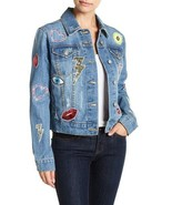 Bagatelle Women's Patch Embellished Oversized Denim Jacket $178 Size XS,... - $34.64+