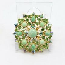 Weiss Brooch Pin Green AB Rhinestone Acrylic Cabochon Gold Tone Flower V... - $74.24