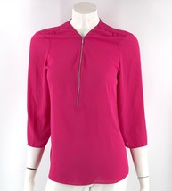 Inc International Concepts Top Size 10 Hot Pink Zipper Neck Blouse Solid... - $12.67