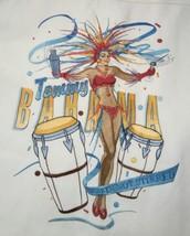 "TOMMY BAHAMA L 100% Silk White Embroidered ""Shaken, Not Stirred"" Hawaiian Shirt  - $37.23"