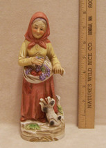 "HOMCO Old Woman With Apron Full of Grapes Figurine 8"" - $10.84"