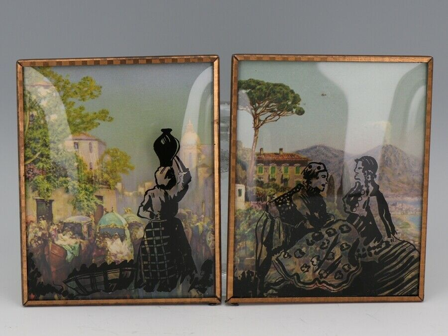 "Vintage Silhouette Convex Glass Picture Pair 4"" by 5"" Spain Countryside"