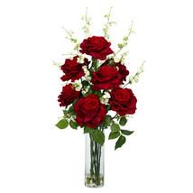 Roses W/Cherry Blossoms Silk Flower Arrangement - $104.99