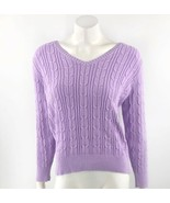 St Johns Bay Womens Sweater Size Large Lilac Purple Cable Knit V Neck Pu... - $14.85