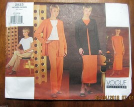 Vogue Sewing Pattern Jacket Top Dress Pants Uncut FF 12 14 16 Misses or ... - $19.99