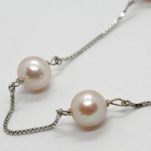 18K WHITE GOLD NECKLACE, VENETIAN CHAIN ALTERNATE PEACH PEARLS 8 MM DIAMETER image 2