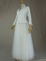 WHITE Tulle Midi Skirt A Line High Waisted Tulle Skirt Wedding Skirt image 10