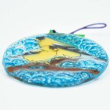 Goldfinch Yellow Finch Fused Art Glass Ornament Sun Catcher Handmade Ecuador image 3