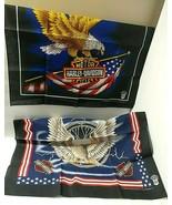 Harley Davidson 2 Bandanas Vintage UNUSED Eagle Lightning Flag USA Licensed - $44.50