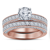 14k Rose Gold Finish 925 Sterling Solid Silver Womens Bridal Diamond Rin... - $95.99