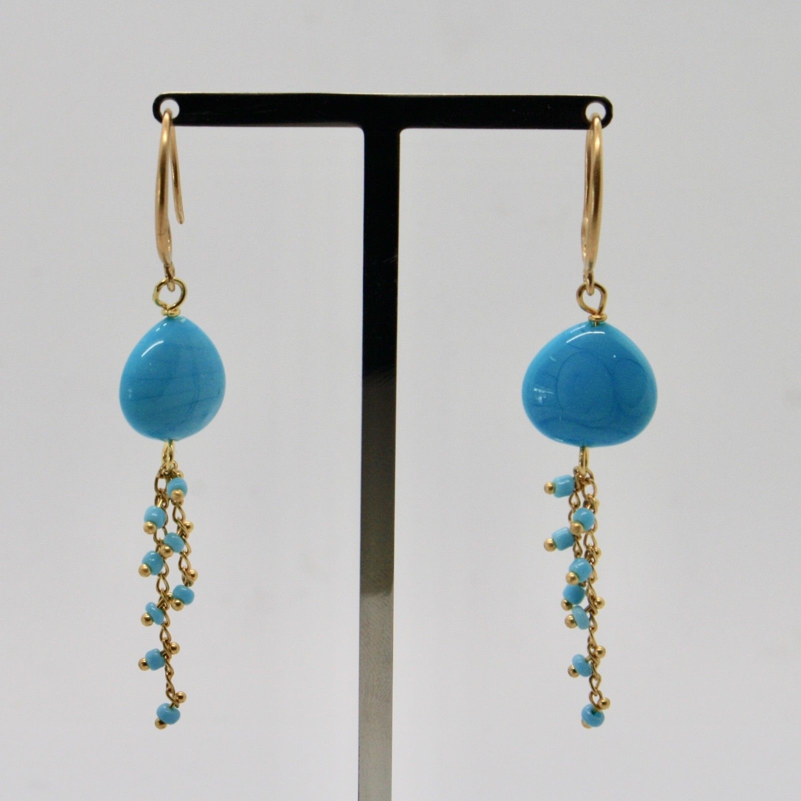 EARRINGS ANTICA MURRINA VENEZIA WITH MURANO GLASS TURQUOISE GOLD BLUE OR570A07
