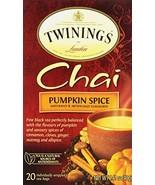 Twinings of London Pumpkin Spice Chai Tea Bags, 20 Count - $5.94