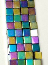 "6mm Rainbow Magnetic Hematite Square Cube Beads 15.5"" Strand"
