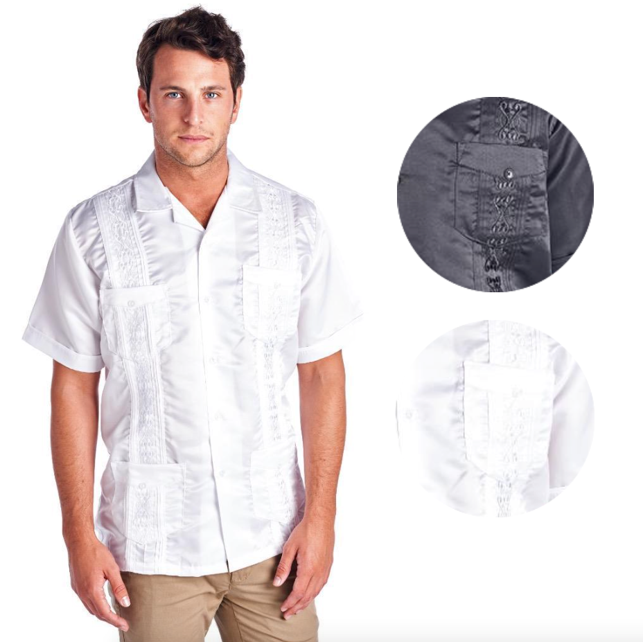 Guayabera Men's Premium Cuban Beach Wedding Button-Up Casual Satin Dress Shirt