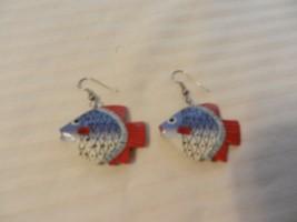 Women's Red, white & Blue Angel Fish Wooden Pierced Earrings - $22.28