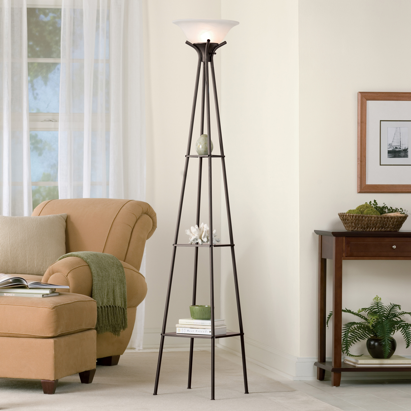 "Primary image for Mainstays 69"" Charcoal Metal Etagere Shelf Floor Lamp"
