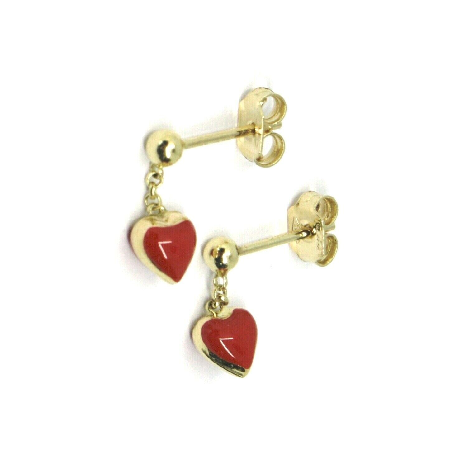 18K YELLOW GOLD PENDANT 12MM EARRINGS WITH RED ENAMEL MINI HEART, MADE IN ITALY