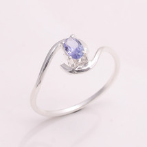 NATURAL TANZANITE 3*5 MM OVAL 925 STERLING SILVER 7 US RING - £5.74 GBP