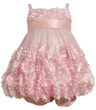 Bonnie Jean Baby Girl 3M-24M Fluter Die Cut Flower Border Bubble Dress