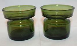 Dansk IHQ Votive Glass Candle Holder Green Denmark Mid Century Modern Se... - $32.87