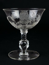 """Heisey Rose Etched Champagne Coupe, Tall Sherbet Glass, Vintage Elegant 4 5/8"""" - $9.80"""