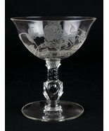 Heisey Rose Etched Champagne Coupe, Tall Sherbet Glass, Vintage Elegant ... - $9.80