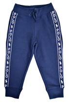 Polo Ralph Lauren Kids Navy Blue Tape Sleeve Jogger Sweatpants Small (7) 9926-1 - $36.17