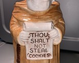 "Cookie Jar Vintage Treasure Craft  Friar Monk   ""Thou Shalt Not Steal Cookies"""