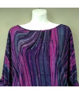 Candie's Pink Purple Swirl Print 3/4 Sleeve Top M Jersey Knit Stretchy C... - $23.97