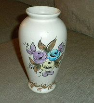 """Handmade Signed Vase w floral design # 3118 Made in Portugal 7"""" h VG++ - $12.73"""