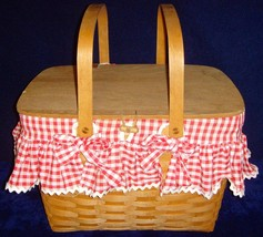 Vintage•1991•Retired•Longaberger•Large Picnic with wooden stand/riser•Pr... - $69.99