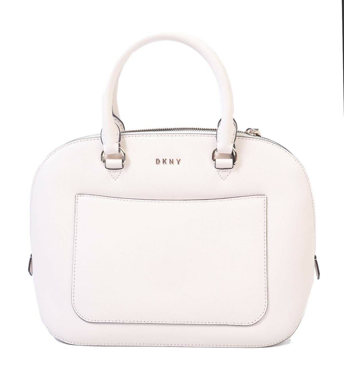 NWT DKNY Saffiano Large Satchel Bag Purse Classic Dome Ivory White Gold R81D1285 - $100.98