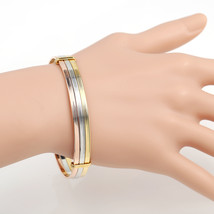 UNITED ELEGANCE Contemporary Tri-Color (Rose, Silver, Gold Tone) Bangle ... - $17.99