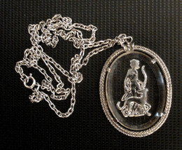 GODDESS DIANA Necklace Archer Huntress DOG Vintage Reverse Etched Glass ... - $39.55
