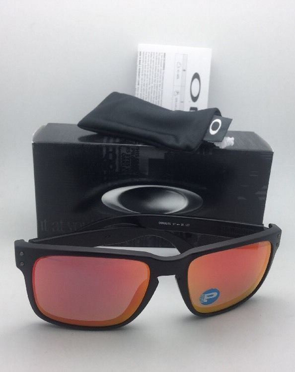 afd5b22894d27 Polarized Oakley Sunglasses HOLBROOK OO9102-51 Matte Black w Ruby Iridium  Lenses