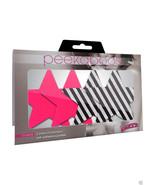 Peekaboo Pasties DOUBLE VISION STARS Pink & Black White Stripe 2 Pair - $14.99