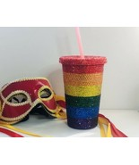 Pride Rainbow Rhinestone Bling Crystallised Tumbler Drink Cup With Straw... - $46.99