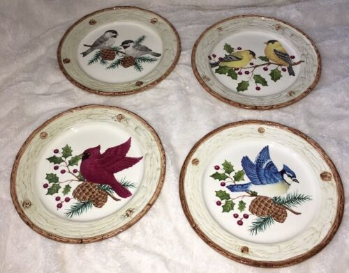 Primary image for 4 SONOMA Holiday KNOLLWOOD Salad Dessert PLATES Different Bird Each Plate 8""