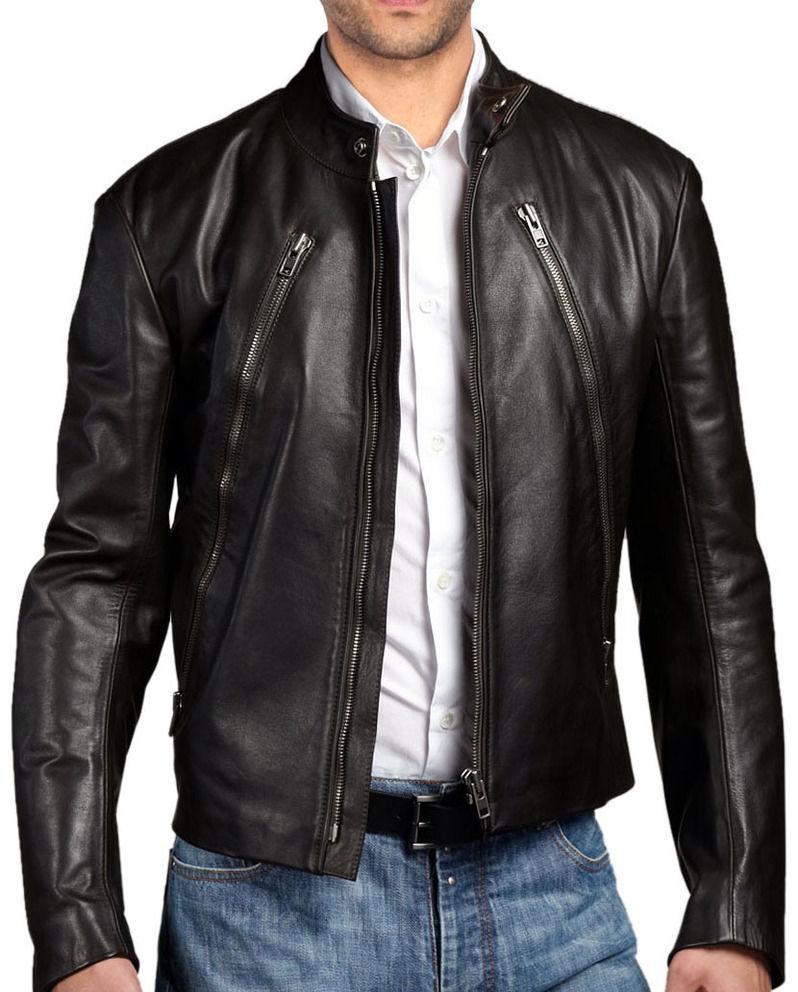 New Men's Stylish Lambskin Genuine Leather Motorcycle Biker Slim Fit Jacket  GN8