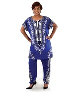 African dashiki short slv pant suit blue thumbtall