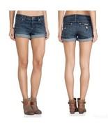 Hudson Hampton Womens Dark Blue Denim Cuffed Stretch Shorts Size 14 (32)... - $42.67