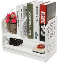 White Openwork Freestanding Book Shelf / Desk T... - $25.49