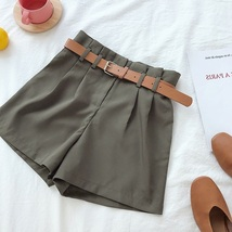 New olive green sexy women high waist pleated shorts with belt spring su... - $36.00