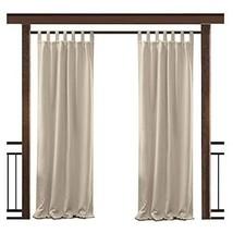 """TWOPAGES Outdoor Waterproof Curtain Beige Tab Top Drape, 84"""" W x 96"""" L f... - $56.52"""