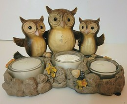 Yankee Candle Triple Owl Sitting on Branch Tea-Light Candle Holder Autum... - $14.50