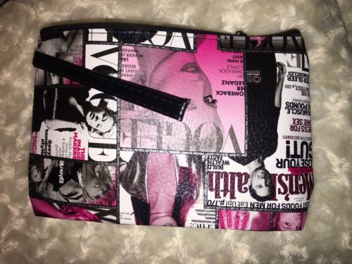Vogue Magazine Zip Ladies Cosmetic Makeup Beauty Bag Clutch Strap Free Shipping